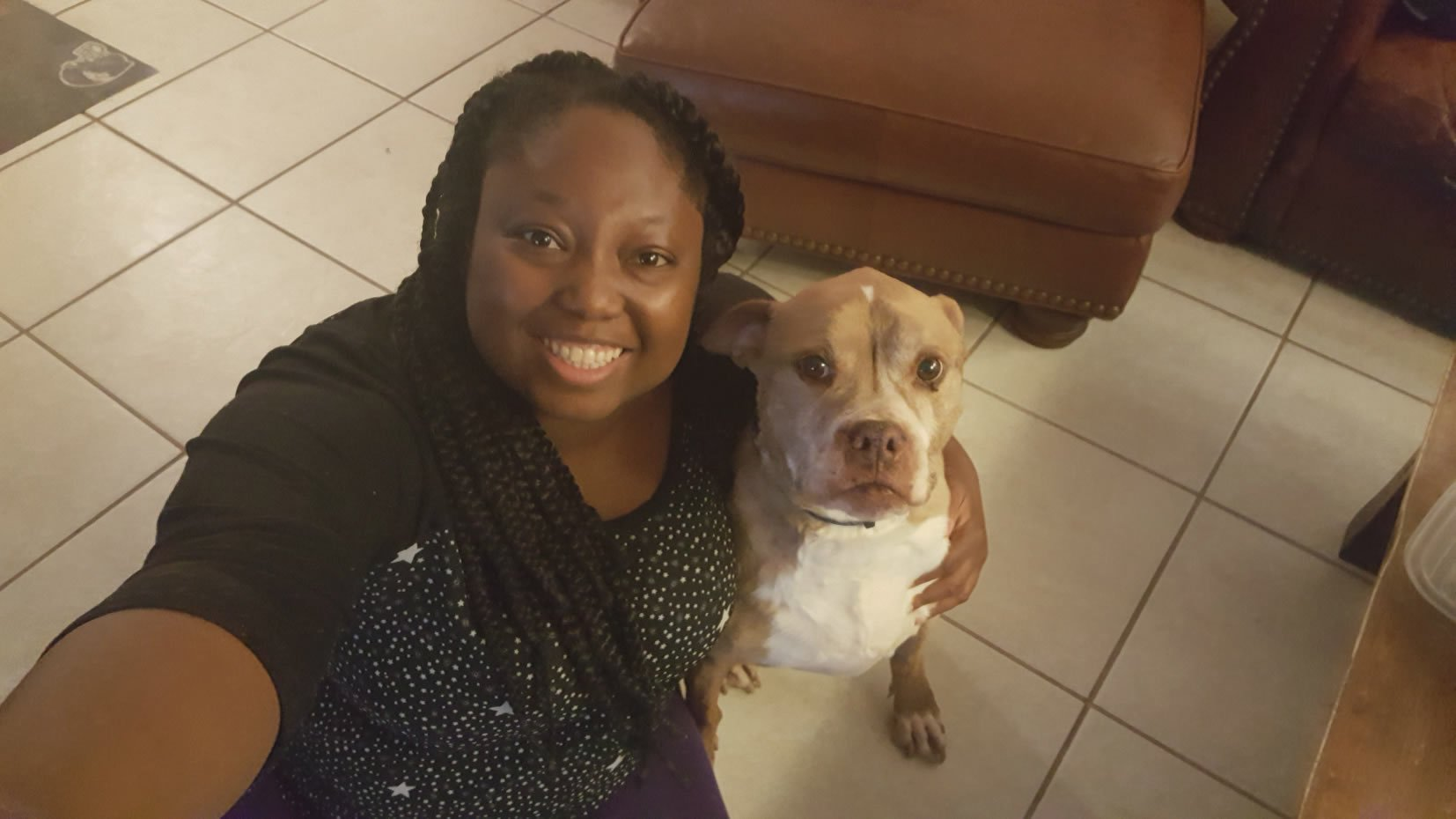 Rochelle Lucas and her dog