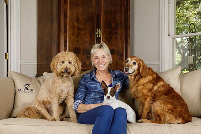 Barbara Goodrich with goldendoodle