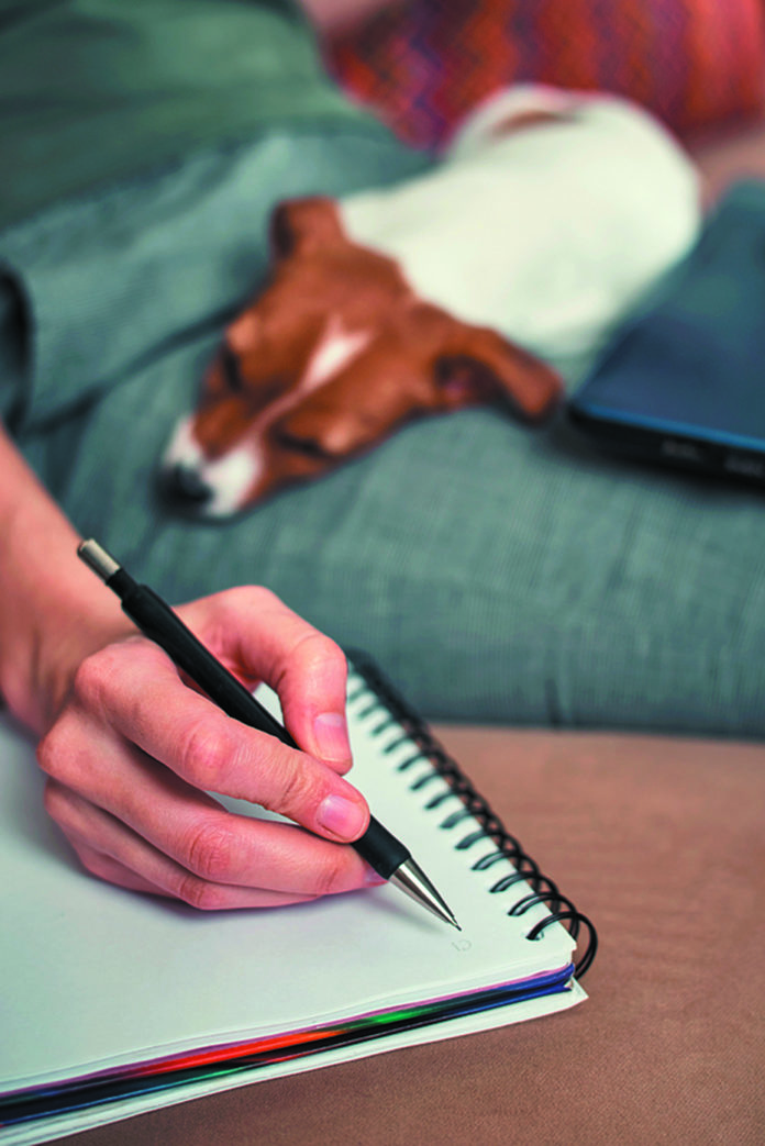 Woman Write Plans In The Notebook With Her Jack Russel Terrier